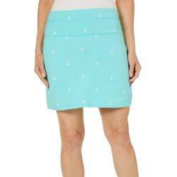 Coral Bay Energy Petite Anchor Print Pull On Skort