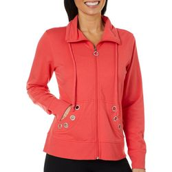 Coral Bay Petite Solid Grommet Zip Up Jacket