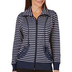 Coral Bay Petite Stripe Print Grommet Jacket