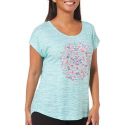 Coral Bay Petite Butterfly Embellished Burnout Top