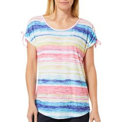 Coral Bay Petite Rainbow Stripe Print Tie Shoulder Top