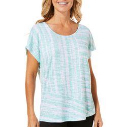 Coral Bay Petite Stripe Print Burnout Top