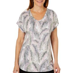 Coral Bay Petite Palm Leaf Burnout V-Neck Top