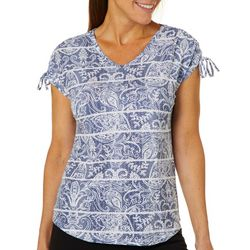 Coral Bay Petite Paisley Stripe Ruched Shoulder Top