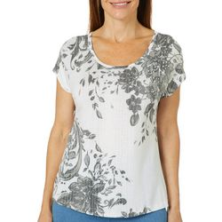 Coral Bay Petite Embellished Floral Burnout Top