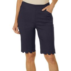 Coral Bay Petite Pull On Stretch Scallop Hem Shorts