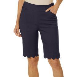 Petite Pull On Stretch Scallop Hem Shorts