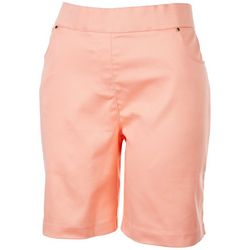 Coral Bay Petite Basic Solid Pocketed Shorts