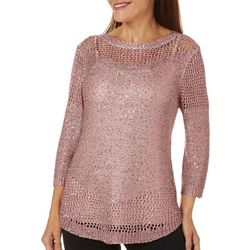 Coral Bay Petite Open Weave Sequin Sweater
