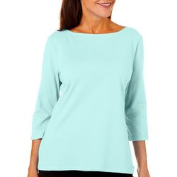 Petite Boat Neck Solid Top