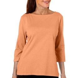 Coral Bay Petite Boat Neck Solid Top
