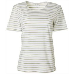 Coral Bay Petite Horizontal Stripe Round Neck Top