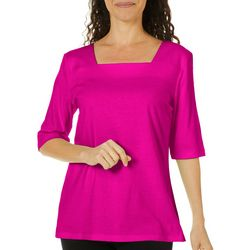 Coral Bay Petite Square Neck Solid Top