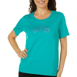 Coral Bay Petite Embellished Shell Trio Short Sleeve Top