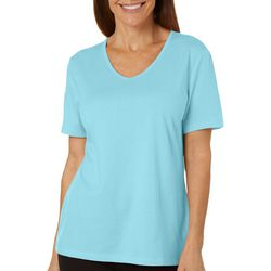 Petite Solid V-Neck Short Sleeve Top