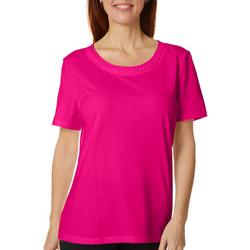 Petite Solid Braided Round Neck Short Sleeve Top