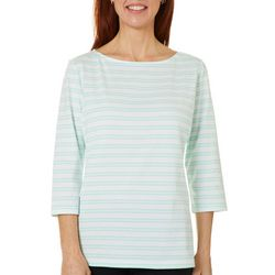Coral Bay Petite Striped Boat Neckline Top