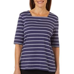 Petite Square Neck Striped Top