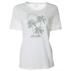 Coral Bay Petite Jewel Embellished Tropical Sunset Top