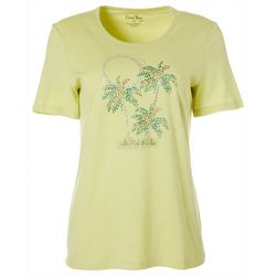 Petite Jewel Embellished Tropical Sunset Top