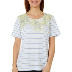 Coral Bay Petite Tropical Palm Striped Screen Print Top