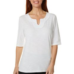 Petite Solid Embroidered Split Neckline Top