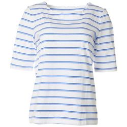 Coral Bay Petite Striped Elbow Sleeve Round Neck Top