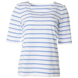 Petite Striped Elbow Sleeve Round Neck Top