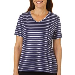 Coral Bay Petite Striped V-Neck Short Sleeve Top