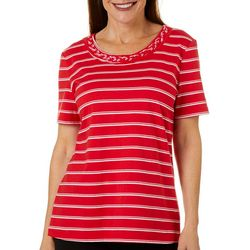 Coral Bay Petite Horizontal Stripe Braided Neckline Top