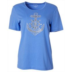 Coral Bay Petite Jewel Embellished Anchor Top