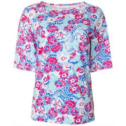 Coral Bay Petite Graphic Floral Boat Neck Top
