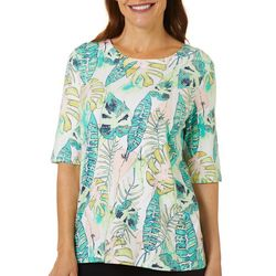 Petite Tropical Palm Print Boat Neckline Top