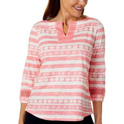 Petite Seashell Stripe Split Neckline Top