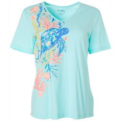 Coral Bay Petite Embellished Turtle Print V-Neck Top