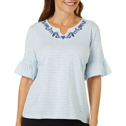 Coral Bay Petite Striped Embellished Split Neck Top