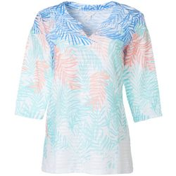 Coral Bay Petite Falling Leaves Print Textured Tunic Top