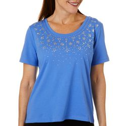Coral Bay Petite Jeweled Radial Floral Top