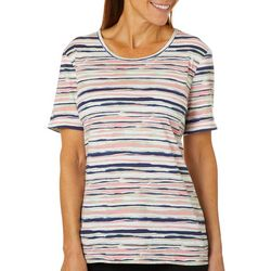 Coral Bay Petite Scratchy Stripe Printed Top