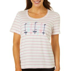 Coral Bay Petite Embroidered Boats Top