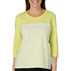 Coral Bay Petite Crochet Coloblocked Stripe Print Top