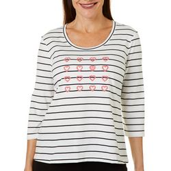 Coral Bay Petite Embroidered Hearts Top