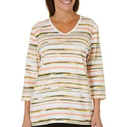Coral Bay Petite Embellished Striped Top