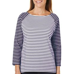 Coral Bay Petite Mix Stripe Raglan Sleeve Top