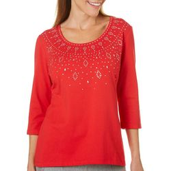Coral Bay Petite Solid Bling Embellished Top