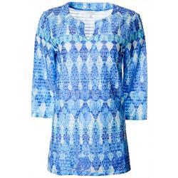Petite Batik Print Textured Tunic Top