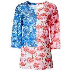 Petite Americana Flamingo Print Textured Tunic Top