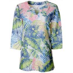 Petite Palm Leaf Print Textured Tunic Top