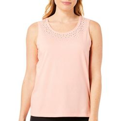 Coral Bay Petite Embellished Solid Tank Top