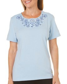 Coral Bay Petite Floral Embroidered Top